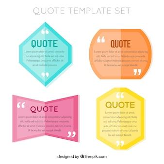 Confezione di citazioni in disegno piatto