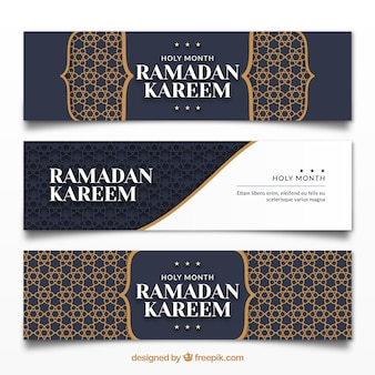 Pack of ramadan banners with ornaments