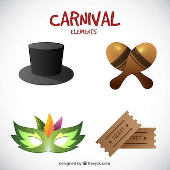 Pack of realistic carnival objects