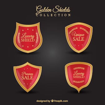 Pack of red and gold discount shields