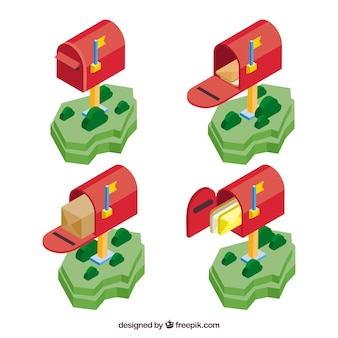 Pack of red mailboxes in isometric style