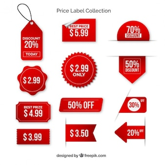 Pack of red price labels with with letters Premium Vector