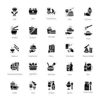 Pack of restaurant glyph icons