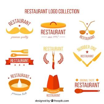 Confezione di loghi ristorante in design piatto