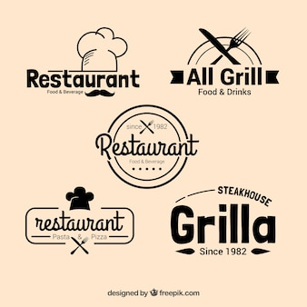 Pack of restaurant logos in vintage design