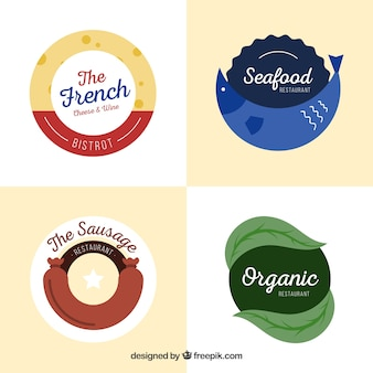 Pack of restaurant logos with flat design