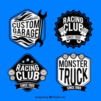 Pack of retro race badges