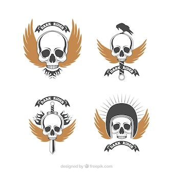 Pack of retro skull logos with golden wings