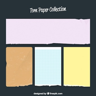 Pack of ripped colored paper