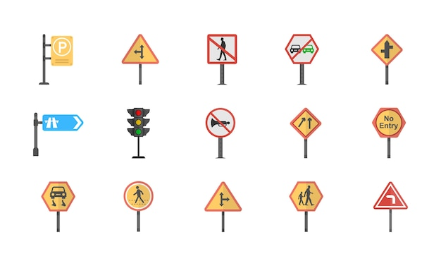 A pack of road signs and junctions flat vector icons