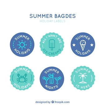 Pack of round summer badges