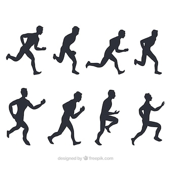 Pack of runners silhouettes