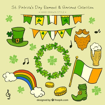 Pack of saint patrick hand drawn elements