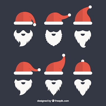 Pack of santa claus hats and beard in flat design