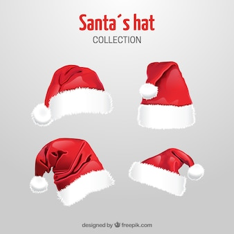 Pack of santa hats in realistic style