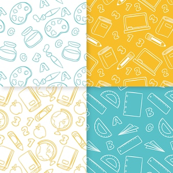 Pack of school hand drawn seamless pattern