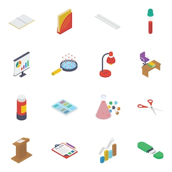 Pack of science isometric icons