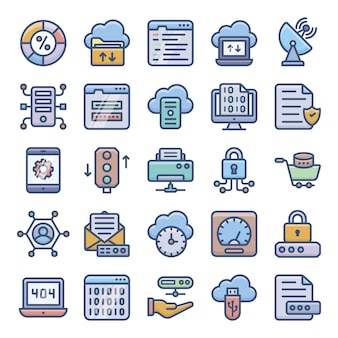 Pack of server hosting icons