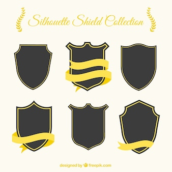 Confezione da scudo sagome con nastri d'oro