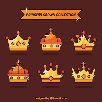 Pack of shiny princess crowns