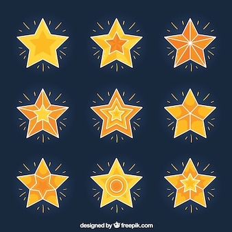Pack of shiny stars with geometric designs
