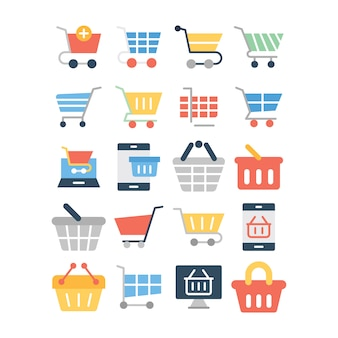 Pack of shopping car line icons
