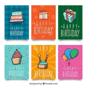 Pack of six birthday cards with drawings