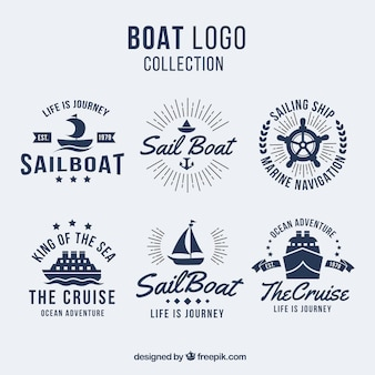 Pack of six boat logos in flat design
