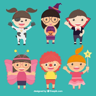 Pack of six children disguised for halloween in flat design