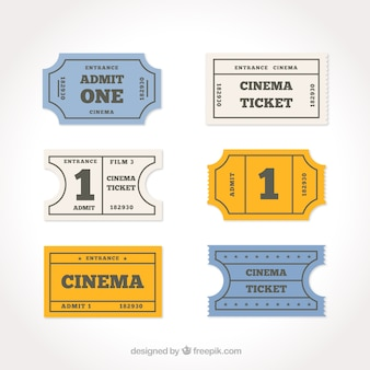 Pack of six cinema tickets in minimalist style
