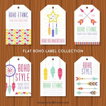 Confezione di sei etichette decorative con elementi etnici