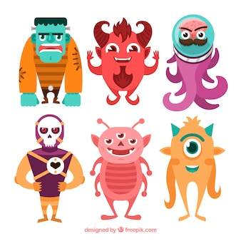 Pack of six different monsters