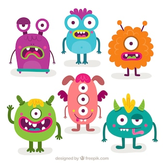 Pack of six funny monsters