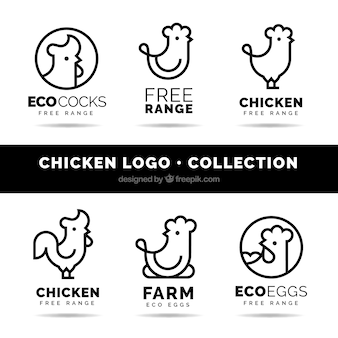 Pack of six linear chicken logos