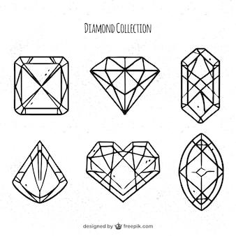Pack of six linear diamonds