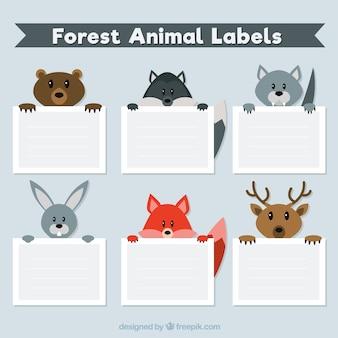 Confezione di sei etichette animale bello