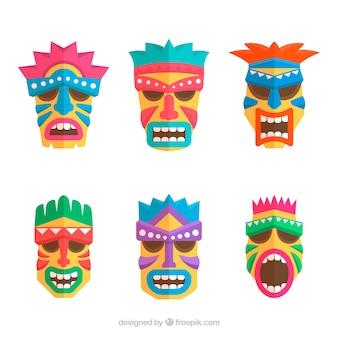 Pack of six tiki masks in flat design