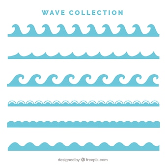 Pack of six types of waves in flat style
