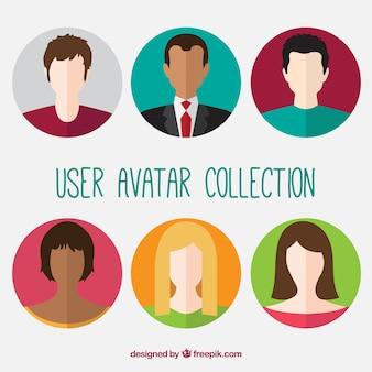 Pack of six user avatars in flat design