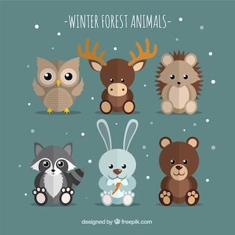 Confezione da sei animali invernali