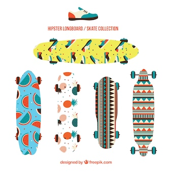Pack of skateboards with enjoyables designs
