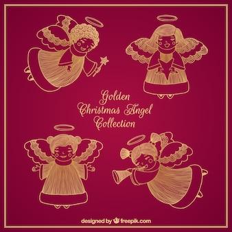 Confezione di schizzi di angeli natalizi