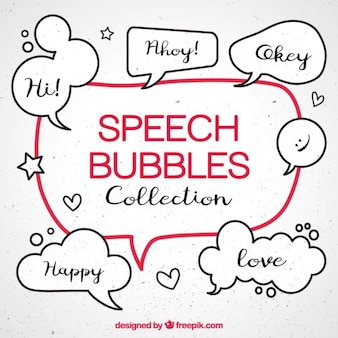 Pack of sketches comic speech bubbles