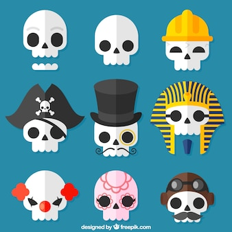Pack of skulls with costume elements
