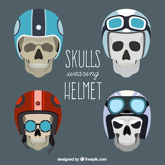 Pack of skulls with driver helmet
