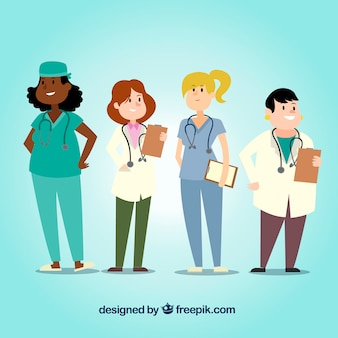 Pack of smiley female doctors