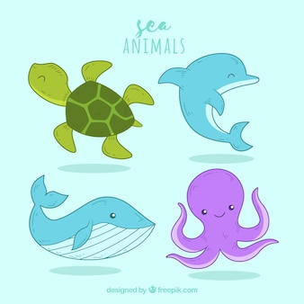 Pack of smiley sea animals