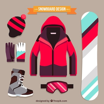 Pack of snowboard sporting elements