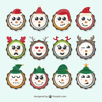 Pack of snowmen with christmas decoration