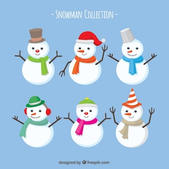 Pack of snowmen with scarf and hats